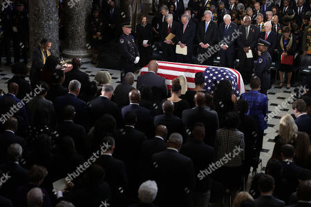 US Rep. Emanuel Cleaver (D-MO) says a prayer during a memorial service for the late Rep. Elijah Cummings (D-MD) at the Statuary Hall of the US Capitol in Washington, DC, USA, 24 October 2019. Late Maryland Representative Elijah Cummings died on 17 October 2019.