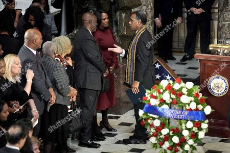 Rep. Emanuel Cleaver (D-Mo.) speaks to Maya Rockeymoore Cummings after a ceremony honoring the late Rep. Elijah Cummings (D-Md.) before he lies in state at the US Capitol in Washington, DC, USA, 24 October 2019. Late Maryland Representative Elijah Cummings died on 17 October 2019.