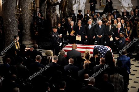 Rep. Emanuel Cleaver (D-Mo.) gives the invocation at a ceremony in Statuary Hall for the late Rep. Elijah Cummings (D-Md.) before he lies in state at the US Capitol in Washington, DC, USA, 24 October 2019. Late Maryland Representative Elijah Cummings died on 17 October 2019.