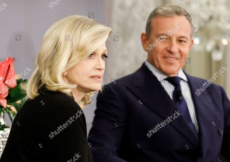 Journalist Diane Sawyer (L) interviews Walt Disney Company Chairman and CEO Bob Iger (R) at an event with the Economic Club of New York in New York, New York, USA, 24 October 2019.