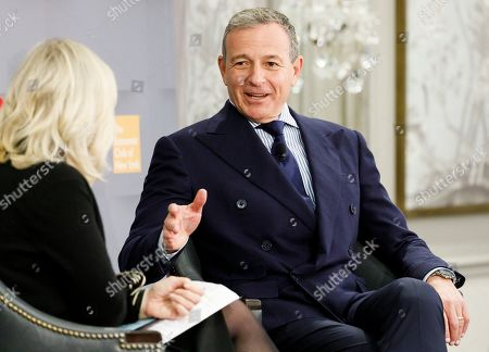 Walt Disney Company Chairman and CEO Bob Iger (R) talks with journalist Diane Sawyer (L) at an event with the Economic Club of New York in New York, New York, USA, 24 October 2019.