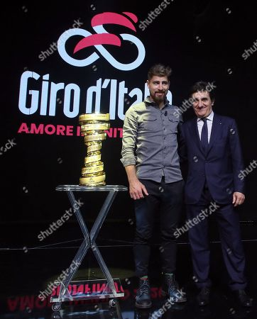 Slovak rider Peter Sagan (L) and chairman of sport and media company RCS Urbano Cairo pose with the Giro d'Italia trophy during the presentation of the 103rd edition of the Giro d'Italia in Milan, Italy, 24 October 2019. The cycling tour will take place from 09 through 31 May 2020.