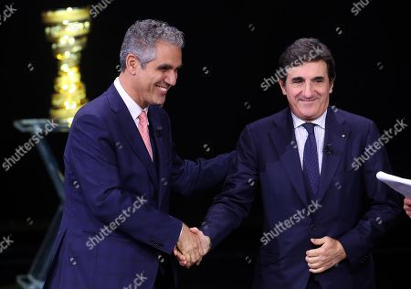 RAI president Marcello Foa (L) and RCS chairman Urbano Cairo attend the presentation of the 103rd edition of the Giro d'Italia in Milan, Italy, 24 October 2019. The cycling tour will take place from 09 through 31 May 2020.