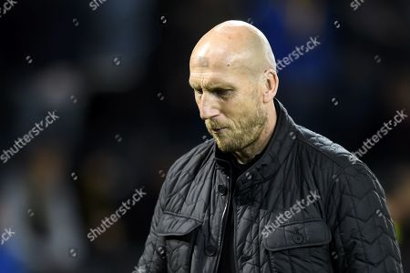 Feyenoord's head coach Jaap Stam reacts afterr the UEFA Europa League group stage soccer match between BSC Young Boys Bern and Feyernoord Rotterdam, at the Stade de Suisse in Bern, Switzerland, 24 October 2019.