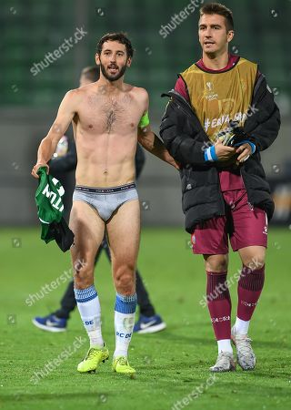 Esteban Granero of Espanyol (L) after the UEFA Europa League group stage H soccer match between PFC Ludogorets Razgrad and RCD Espanyol in Razgrad, Bulgaria, 24 October 2019.