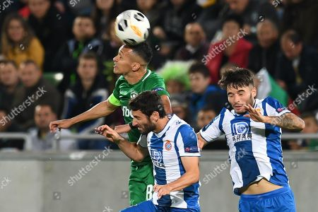 Wanderson of Ludogorets (L, back) in action against Esteban Granero (L, front) and Lluis Lopez of Espanyol (R) during the UEFA Europa League group stage H soccer match between PFC Ludogorets Razgrad and RCD Espanyol in Razgrad, Bulgaria, 24 October 2019.