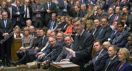 Stock Picture of Britain's ruling Conservative Party Leader of the House of Commons Jacob William Rees-Mogg after giving a statement regarding the offer of a General Election to lawmakers, in London . In a TV interview Thursday Prime Minister Johnson announced that he will offer lawmakers more time to scrutinize his Brexit legislation, but only if parliament agree for a General Election on December 12