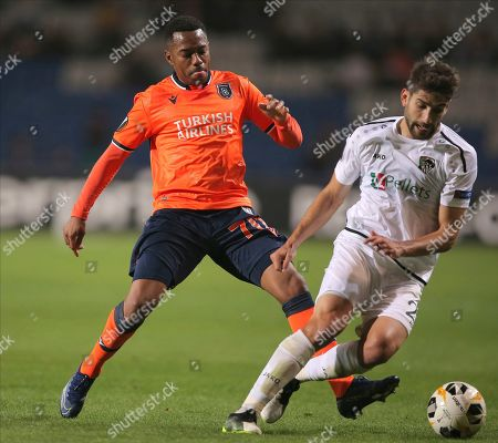 Basaksehir's Robinho, left, Wolfsberg's Michael Novak fight for the ball during the Europa League Group J soccer match between Istanbul Basaksehir and Wolfsberger AC, at the Fatih Terim stadium in Istanbul, Turkey