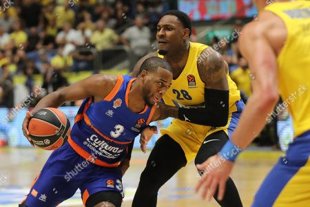 Stock Image of Jordan Loyd of Valencia Basket (L) in action against Tarik Black of Maccabi Tel Aviv (R) during the EuroLeague basketball match Valencia Basket vs Maccabi Tel Aviv at Menora Mivtachim Arena in Tel Aviv, Israel, 24 October 2019.