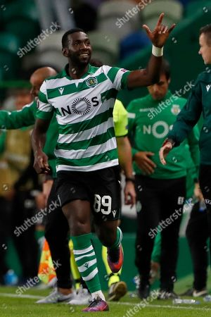 Sporting's Yannick Bolasie celebrates after scoring the opening goal during the Europa League group D soccer match between Sporting CP and Rosenborg at the Alvalade stadium in Lisbon