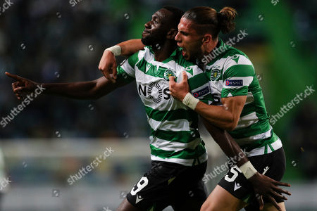 Sporting's Lisbon player Yannick Bolasie (L) jubilating after scoring during their UEFA Europa League match at the Alvalade stadium in Lisbon, Portugal, 24 October 2019.