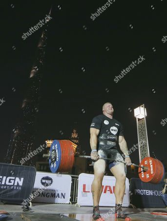 Stock Image of Brian Shaw from US competes during the World's Ultimate Deadlift competition in Gulf emirate of Dubai, United Arab Emirates, 24 October 2019. About 20 of the strongest athlets in the world are trying to break the world record for the World's Heaviest Deadlift of 500 Kg held by English former professional strongman Eddie Hall.
