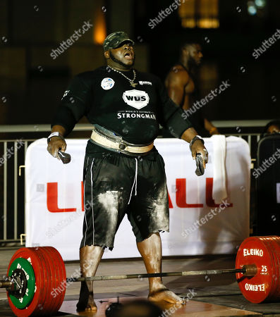 Iron Biby from Burkina Faso competes during the World's Ultimate Deadlift competition in Gulf emirate of Dubai, United Arab Emirates, 24 October 2019. About 20 of the strongest athletes in the world are trying to break the world record for the World's Heaviest Deadlift of 500 Kg held by English former professional strongman Eddie Hall.