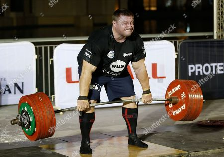 Krzysztof Radzikowski from Poland competes during the World's Ultimate Deadlift competition in Gulf emirate of Dubai, United Arab Emirates, 24 October 2019. About 20 of the strongest athletes in the world are trying to break the world record for the World's Heaviest Deadlift of 500 Kg held by English former professional strongman Eddie Hall.