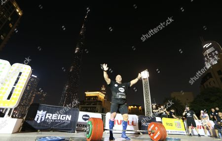 Rauno Heinla from Estonia reacts during the World's Ultimate Deadlift competition in Gulf emirate of Dubai, United Arab Emirates, 24 October 2019. About 20 of the strongest athletes in the world are trying to break the world record for the World's Heaviest Deadlift of 500 Kg held by English former professional strongman Eddie Hall.