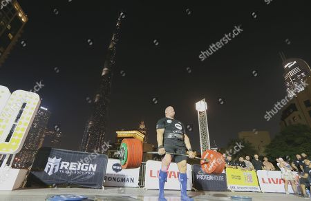 Rauno Heinla from Estonia competes during the World's Ultimate Deadlift competition in Gulf emirate of Dubai, United Arab Emirates, 24 October 2019. About 20 of the strongest athletes in the world are trying to break the world record for the World's Heaviest Deadlift of 500 Kg held by English former professional strongman Eddie Hall.