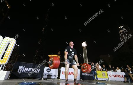 Tom Stoltman from Britain competes during the World's Ultimate Deadlift competition in Gulf emirate of Dubai, United Arab Emirates, 24 October 2019. About 20 of the strongest athletes in the world are trying to break the world record for the World's Heaviest Deadlift of 500 Kg held by English former professional strongman Eddie Hall.