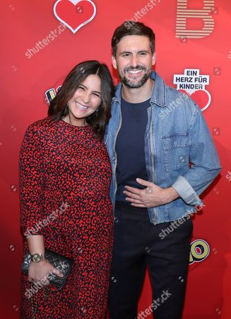 German actress Chryssanthi Kavazi (L) and her husband actor Tom Beck pose on the red carpet for ?Place To B Playing for Charity? in Berlin, Germany, 24 October 2019.