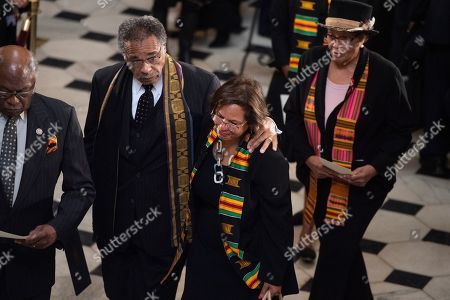 Reps. Robin Kelly, D-Ill., center, Emanuel Cleaver, D-Mo., second from left, Alma Adams, D-N.C., and House Majority Whip Jim Clyburn, D-S.C., are seen after paying respect to Congressman Elijah Cummings (D-MD) in National Statuary Hall at the US Capitol in Washington, DC, USA, 24 October 2019. Late Maryland Representative Elijah Cummings died on 17 October 2019.