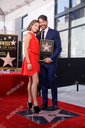 Harry Connick Jr. poses with his daughter Sarah Kate Connick as he is honored with the 2,678th star on the Hollywood Walk of Fame in Hollywood, California, USA, 24 October 2019. The star was dedicated in the category of Recording.