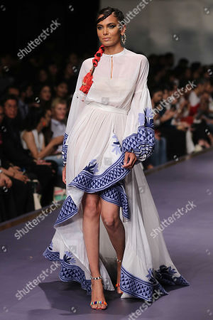 Stock Image of A model presents a creation by Italian designer Stella Jean during the second day of Fashion Pakistan Week, in Karachi, Pakistan, 24 October 2019.