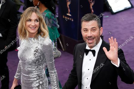 Molly McNearney, left, and Jimmy Kimmel arrive at the 71st Primetime Emmy Awards, at the Microsoft Theater in Los Angeles