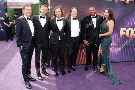 From left, Alex Moffat, Mikey Day, Kyle Mooney, Beck Bennett, Kenan Thompson, and Christina Evangeline arrive at the 71st Primetime Emmy Awards, at the Microsoft Theater in Los Angeles