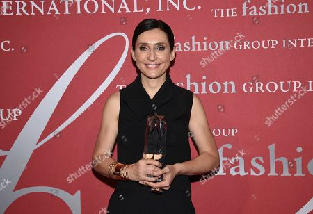 """Interior design honoree Delphine Krakoff pose with her award at The Fashion Group International's annual """"Night of Stars"""" gala at Cipriani Wall Street, in New York"""