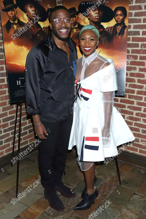 """Zackary Momoh, Cynthia Erivo. Zackary Momoh, left, and Cynthia Erivo attend the special screening of """"Harriet"""" at The Roxy Hotel, in New York"""