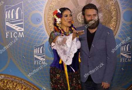 Lila Downs (L) and Mexican director Gonzalo Ferrari (R) attend the Morelia International Film Festival (FICM), in Morelia, Mexico, 24 October 2019. The festival runs from 18 October through to 27 October 2019.
