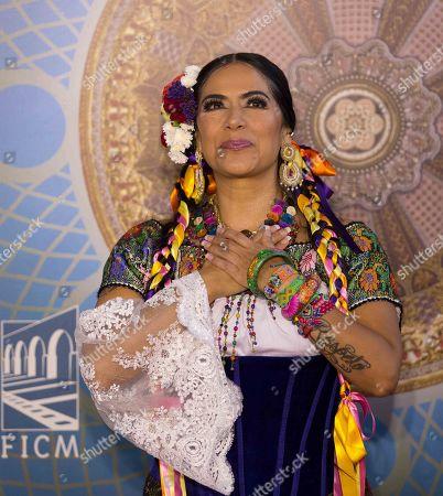 Lila Downs (L) attends the Morelia International Film Festival (FICM), in Morelia, Mexico, 24 October 2019. The festival runs from 18 October through to 27 October 2019.
