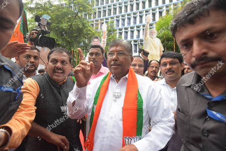 State President BJP Maharashtra Chandrakant Patil outside BJP office Nariman point on October 24, 2019 in Mumbai, India.
