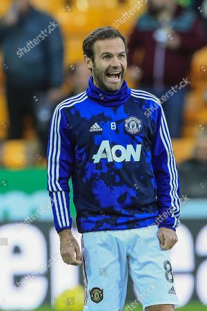 27th October 2019, Carrow Road, Norwich, England; Premier League, Norwich City v Manchester United : Juan Mata (8) of Manchester United full of laughter during the warmup session  Credit: Mark Cosgrove/News Images