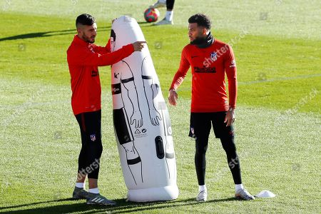 Atletico Madrid's midfielders Thomas Lemar (R) and Koke (L) attend a team training session at Wanda Sports City in Majadahonda, Madrid, Spain, 25 October 2019. Atletico Madrid will face Athletic Bilbao on a Spanish LaLiga soccer match on 26 October.
