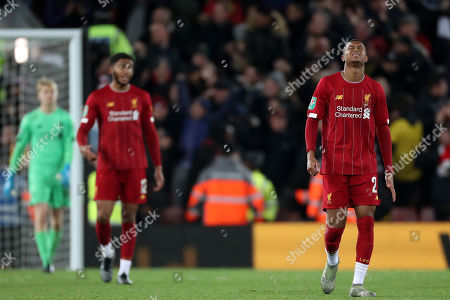 Rhian Brewster of Liverpool shows a look of dejection