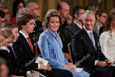(L-R) Prince Gabriel of Belgium, Queen Mathilde of Belgium and  King Philippe of Belgium attend the  ceremony on the occasion of Belgium's Crown Princess Elisabeth 18th birthday at the Royal Palace in Brussels, Belgium 25 October 2019.
