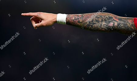 The tattooed arm of Marcos Rojo of Manchester United