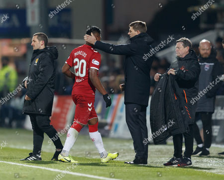 Rangers Manager Steven Gerrard with Alfredo Morelos of Rangers as he leaves the field, substituted for Jermain Defoe.