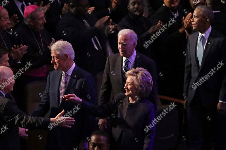 Former President Bill Clinton, former first lady and Secretary of State Hillary Clinton, former Vice President Joe Biden and former President Barack Obama greet members of the Maryland Congressional delegation as they arrive at the funeral service for Rep. Elijah Cummings (D-MD) at New Psalmist Baptist Church on in Baltimore, Maryland. A sharecroppers son who rose to become a civil rights champion and the chairman of the powerful House Oversight and Government Reform Committee, Cummings died last week of complications from longstanding health problems