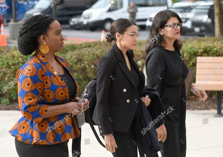 From left, Rep. Ayanna Pressley, D-Mass., Rep. Alexandria Ocasio-Cortez, D-N.Y., and Rep. Rashida Tlaib, D-Mich, arrive for the funeral service of Rep. Elijah Cummings at New Psalmist Baptist Church, in Baltimore. The Maryland congressman and civil rights champion died Thursday, Oct. 17, at age 68 of complications from long-standing health issues