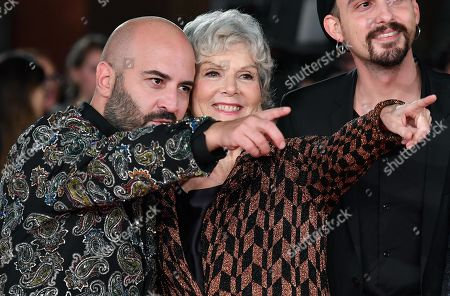 Caterina Caselli (R) poses with a member of Italian band Negramaro, Giuliano Sangiorgi (L) as they arrive for the screening of 'Negramaro. L'anima vista da qui ' at the 14th annual Rome Film Festival, in Rome, Italy, 25 October 2019. The film festival runs from 17 to 27 October.