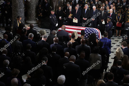 """United States Representative Emanuel Cleaver (Democrat of Missouri) says a prayer during a memorial service for the late US Representative Elijah Cummings (Democrat of Maryland) at the Statuary Hall of the U.S. Capitol in Washington, DC. Rep. Cummings passed away on October 17, 2019 at the age of 68 from """"complications concerning longstanding health challenges."""""""