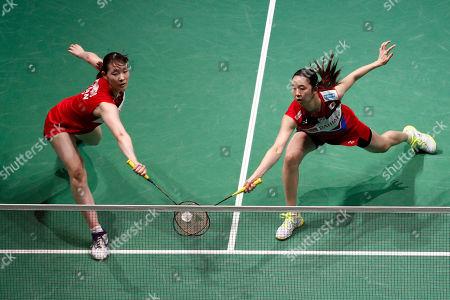 Mayu Matsumoto (L) and Wakana Nagahara (R) of Japan in action during their Women's quarter final match against Liu Xuan Xuan and Xia Yu Ting of China at the Yonex Badminton French Open tournament in Paris, France, 25 October 2019.