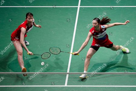 Mayu Matsumoto (L) and Wakana Nagahara (R) of Japan in action during their Women's quarter final match against Liu Xuan Xuan and Xia Yu Ting of China at the Yonex Badminton French Open tournament in Paris, France, 25 October 2019.