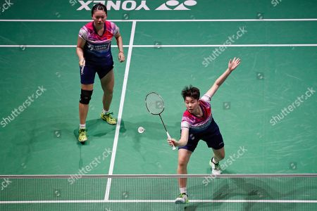 Liu Xuan Xuan (R) and Xia Yu Ting (L) of China in action during their Women's quarter final match against Mayu Matsumoto and Wakana Nagahara of Japan at the Yonex Badminton French Open tournament in Paris, France, 25 October 2019.