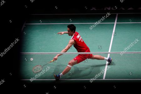 Kento Momota of Japan in action during his Men's singles quarter final match against Anthony Sinisuka Ginting of Indonesia at the Yonex Badminton French Open tournament in Paris, France, 25 October 2019.