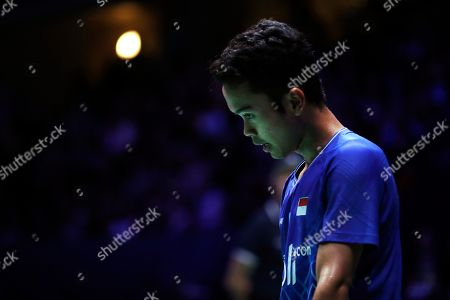 Stock Image of Anthony Sinisuka Ginting of Indonesia reacts during his Men's singles quarter final match against Kento Momota of Japan at the Yonex Badminton French Open tournament in Paris, France, 25 October 2019.