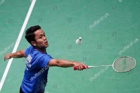 Anthony Sinisuka Ginting of Indonesia in action during his Men's singles quarter final match against Kento Momota of Japan at the Yonex Badminton French Open tournament in Paris, France, 25 October 2019.