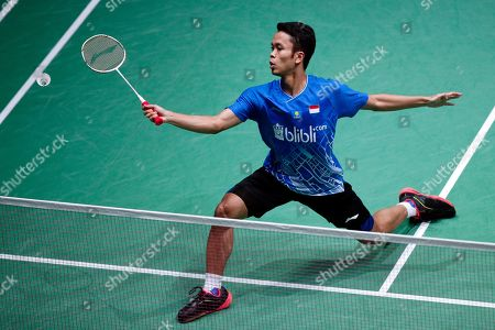 Stock Picture of Anthony Sinisuka Ginting of Indonesia in action during his Men's singles quarter final match against Kento Momota of Japan at the Yonex Badminton French Open tournament in Paris, France, 25 October 2019.