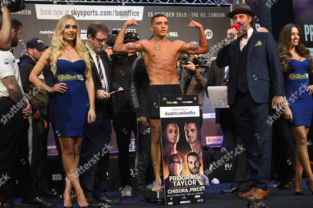 Lee Selby on the scales during a Weigh-In at East Wintergarden on 25th October 2019